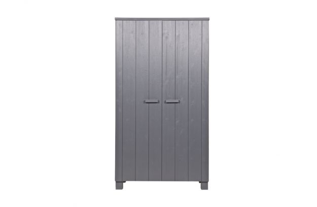 Woood Dennis Wardrobe Brushed Pine Steel Grey