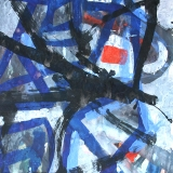 Kees Okx - Abstractevoorstelling blauwzwartestrepen